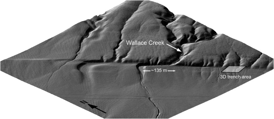 Offset of a small creek along the San Andreas fault. Image from Zielke et al. (2012).